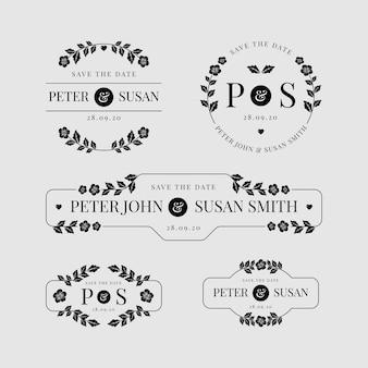 Conjunto de logotipos de casamento floral