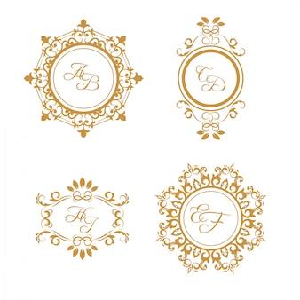 Conjunto de logotipos de casamento