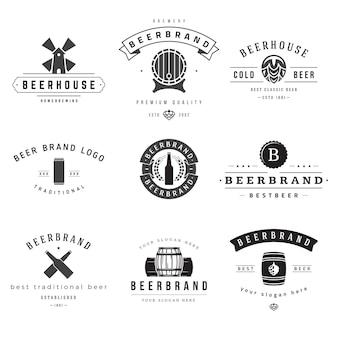 Conjunto de logotipos de casas de cerveja e marcas.