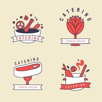 Conjunto de logotipos de catering de design plano