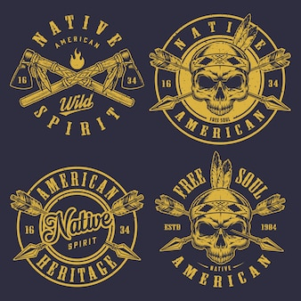 Conjunto de logotipos de caveira
