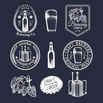 Conjunto de logotipos de cervejaria