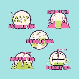 Conjunto de logotipos de chá de bolhas desenhadas à mão