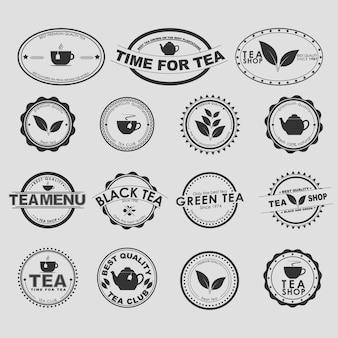 Conjunto de logotipos de chá vintage