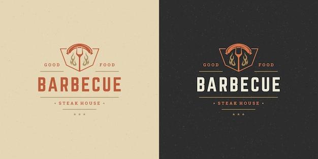 Conjunto de logotipos de churrascaria churrasqueira