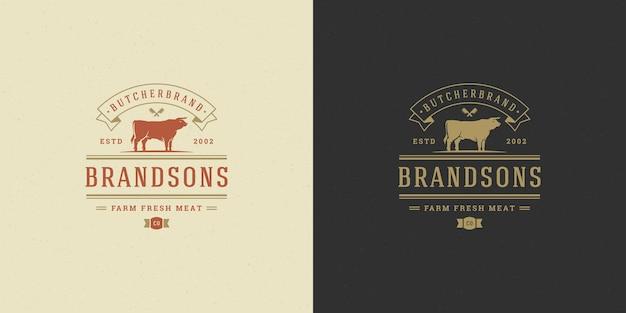 Conjunto de logotipos de churrascaria ou restaurante