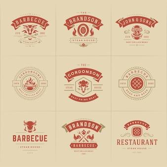 Conjunto de logotipos de churrasqueiras e churrasqueiras