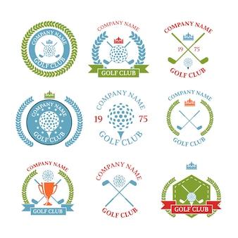 Conjunto de logotipos de clube de golfe