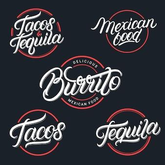 Conjunto de logotipos de comida e bebida mexicana tequila, tacos, burrito. estilo vintage. caligrafia moderna.