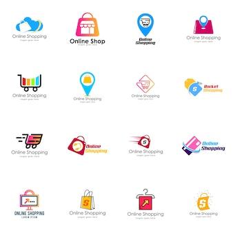 Conjunto de logotipos de compras on-line