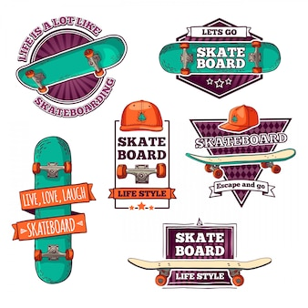 Conjunto de logotipos de cores vintage, emblemas, distintivos, etiquetas, adesivos com skate e boné. estilo retrô. .