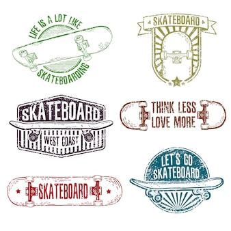 Conjunto de logotipos de cores vintage, emblemas, distintivos, etiquetas, adesivos com skate.