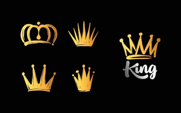 Conjunto de logotipos de coroa desenhados à mão