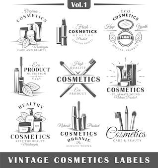 Conjunto de logotipos de cosméticos vintage