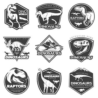 Conjunto de logotipos de dinossauros vintage monocromáticos