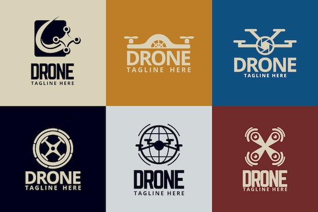 Conjunto de logotipos de drones de design plano