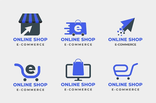 Conjunto de logotipos de e-commerce de design plano