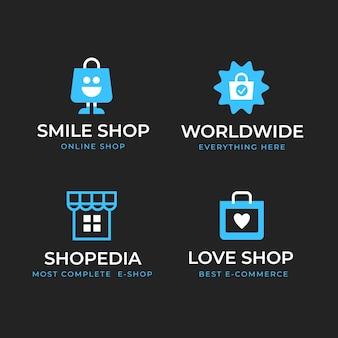 Conjunto de logotipos de e-commerce de design plano