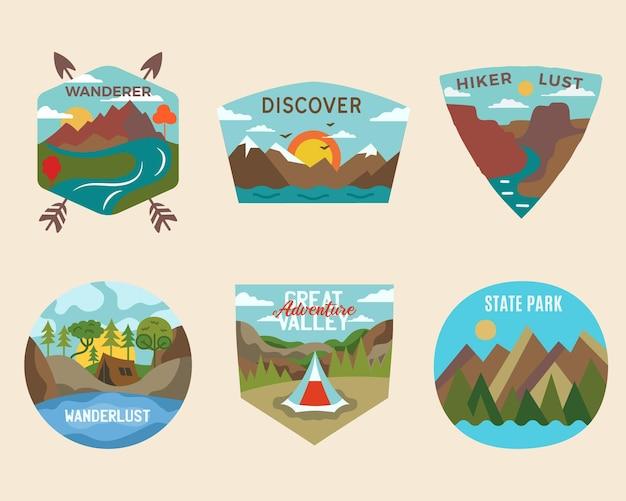 Conjunto de logotipos de emblemas de aventura de acampamento, emblemas de viagens vintage. pacote de desenhos de adesivos. vetor