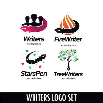 Conjunto de logotipos de escritores