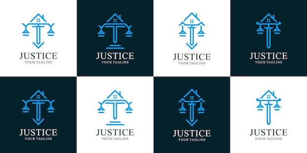 Conjunto de logotipos de escritórios de advocacia e residências