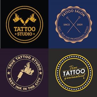 Conjunto de logotipos de estúdio de tatuagem de diferentes estilos