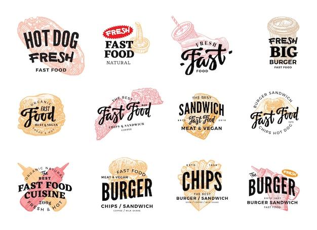 Conjunto de logotipos de fast food desenhados à mão
