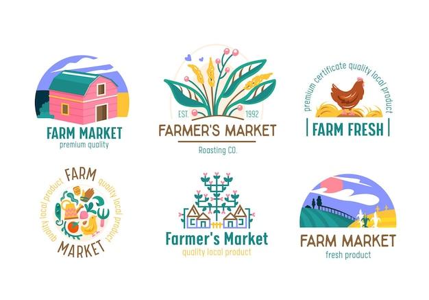 Conjunto de logotipos de fazenda ou mercado de fazendeiro