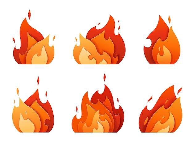 Conjunto de logotipos de fogo esculpidos em papel. chama brilhante de diferentes camadas.