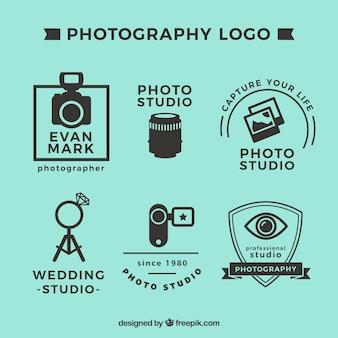 Conjunto de logotipos de fotografia na cor preta