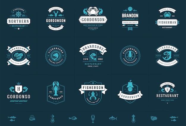 Conjunto de logotipos de frutos do mar ou de restaurantes