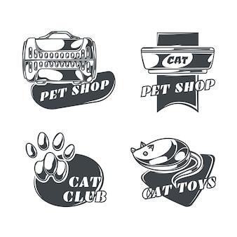Conjunto de logotipos de gatos em estilo vintage