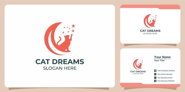 Conjunto de logotipos de gatos minimalistas e cartões de visita