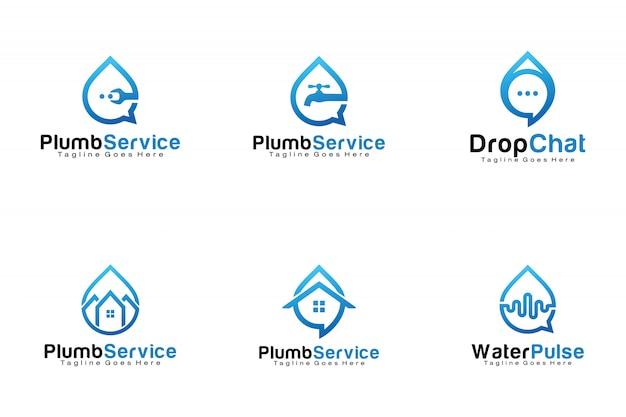 Conjunto de logotipos de gota de água