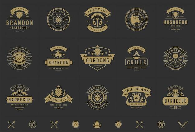 Conjunto de logotipos de grelha e churrasco
