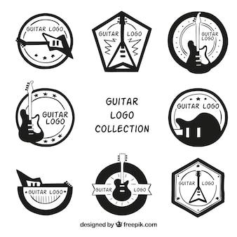 Conjunto de logotipos de guitarra desenhados à mão