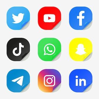 Conjunto de logotipos de ícones de mídia social populares, adesivos de plataformas de rede
