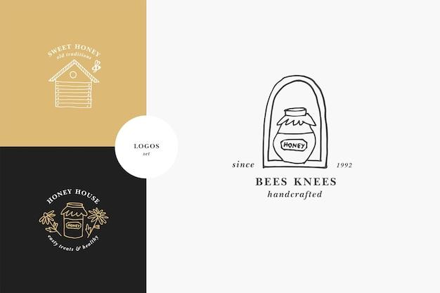 Conjunto de logotipos de ilustração e modelos de design ou emblemas de vetores mel orgânico e ecológico