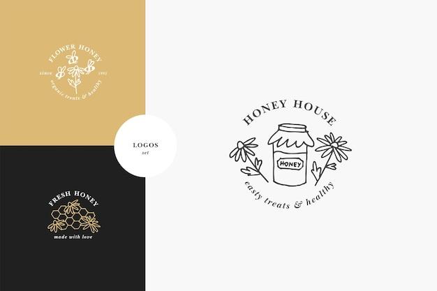 Conjunto de logotipos de ilustração e modelos de design ou emblemas de vetores mel orgânico e ecológico Vetor Premium