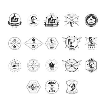 Conjunto de logotipos de insígnias de design retro de pesca.