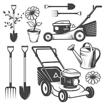 Conjunto de logotipos de jardim vintage e elementos desenhados. estilo monocromático