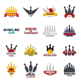 Conjunto de logotipos de jogo bowling kegling