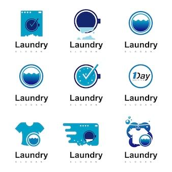 Conjunto de logotipos de lavanderia