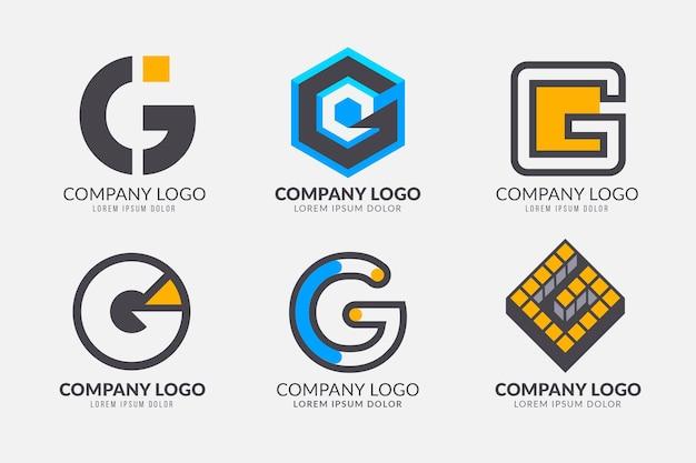 Conjunto de logotipos de letra g de design plano