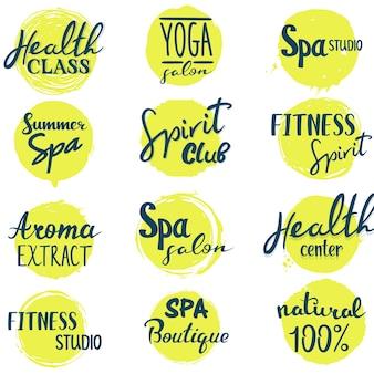 Conjunto de logotipos de letras de spa e saúde
