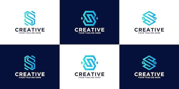 Conjunto de logotipos de letras iniciais para empresas, tecnologia