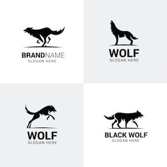 Conjunto de logotipos de lobo