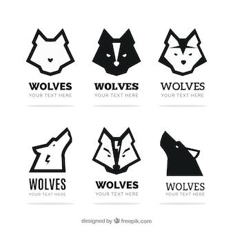 Conjunto de logotipos de lobos modernos