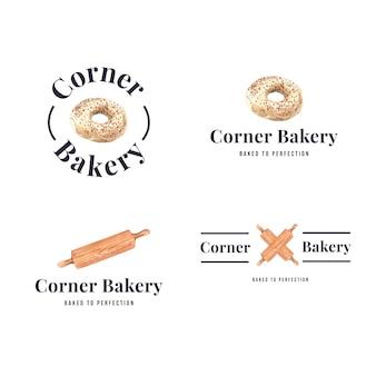 Conjunto de logotipos de lojas de padaria
