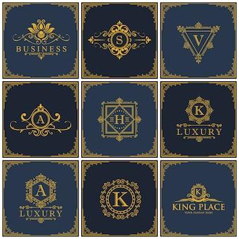 Conjunto de logotipos de luxo, hotel boutique, conjunto de ícones king e royal.